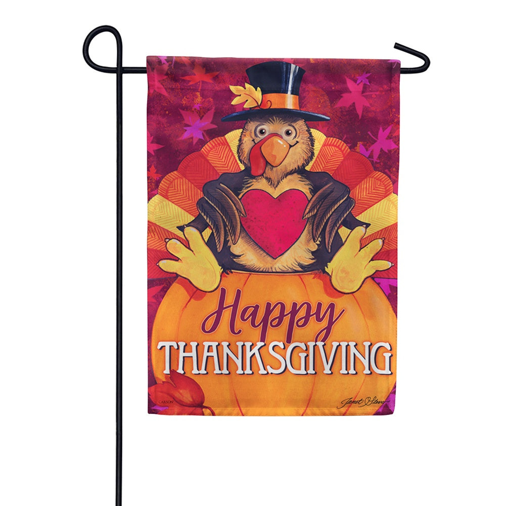 Happy Turkey Glitter Garden Flag