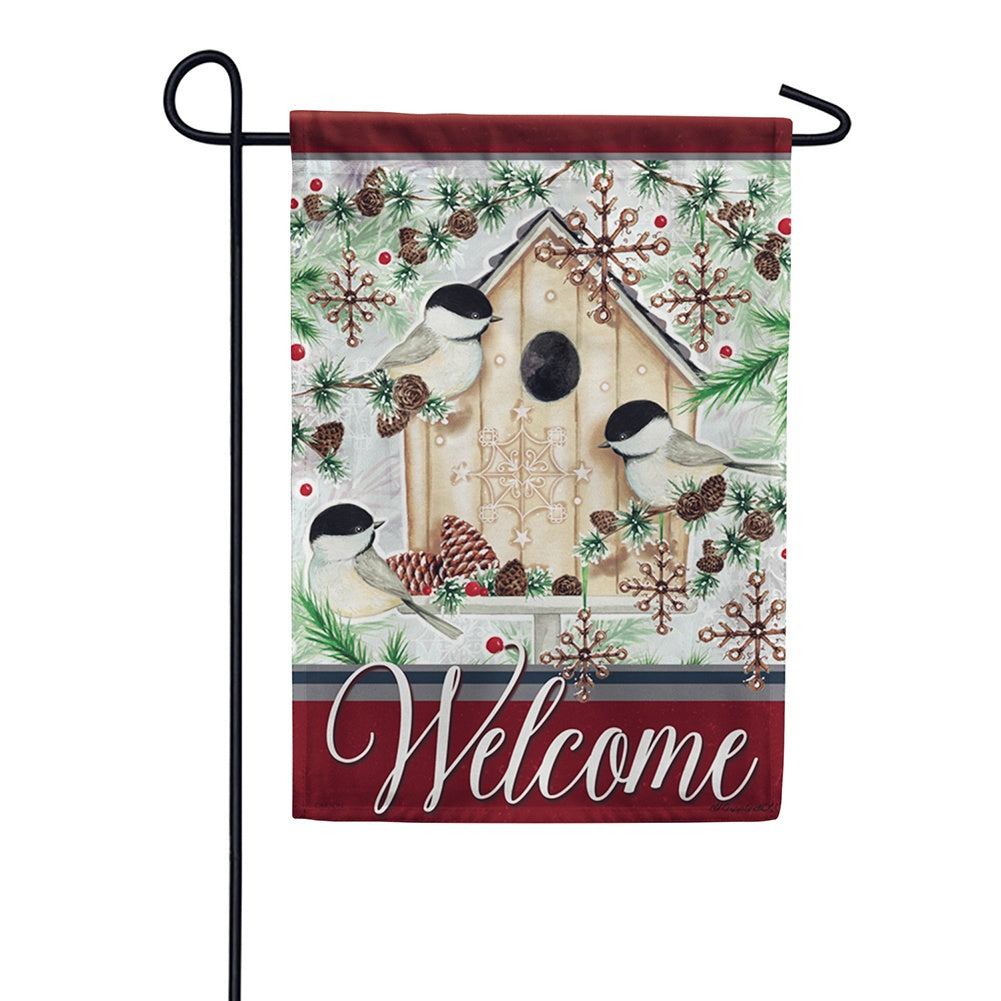 Chilly Chickadees Garden Flag