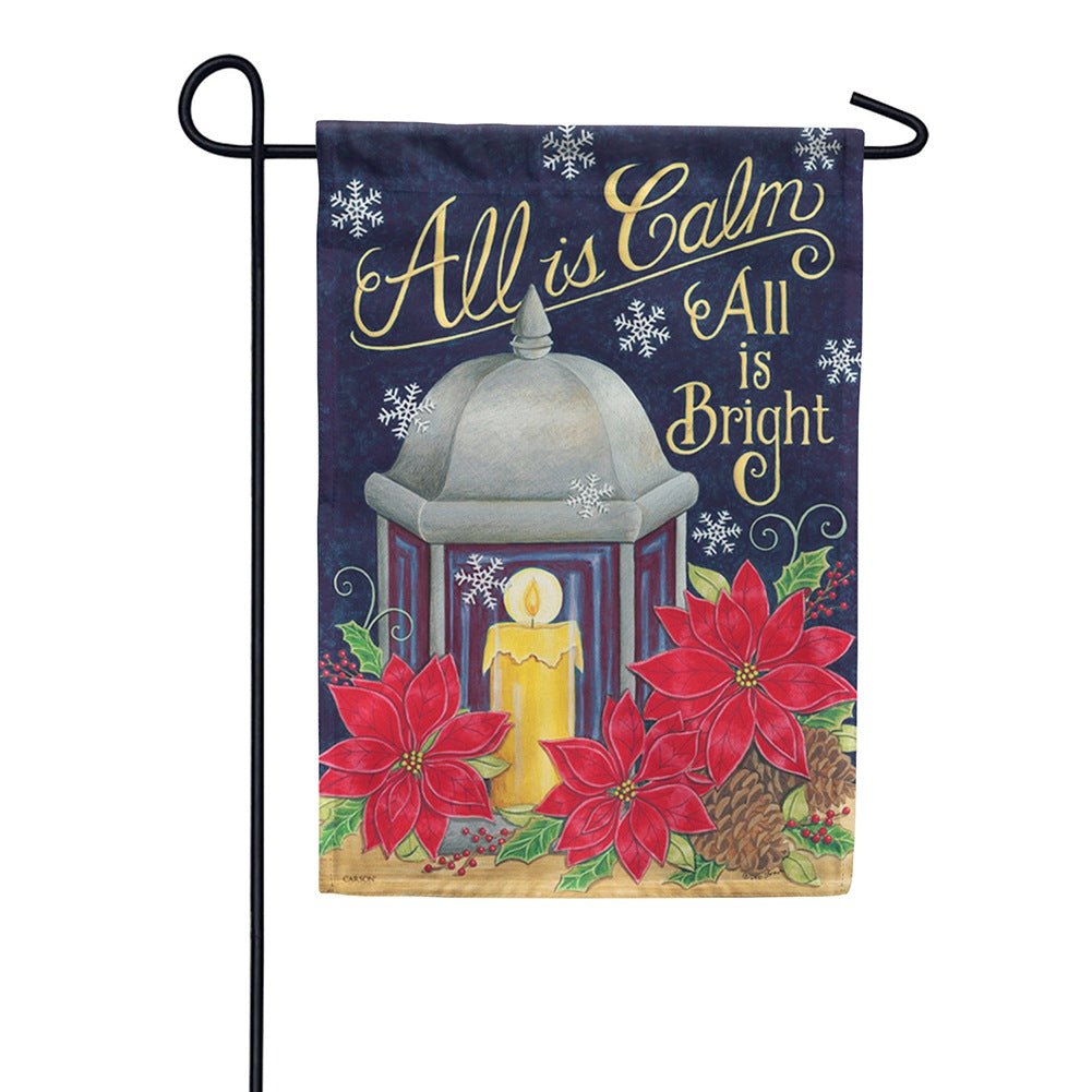 All is Bright Lantern Garden Flag