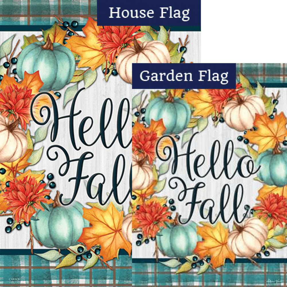 Hello Fall Wreath Flags Set (2 Pieces)