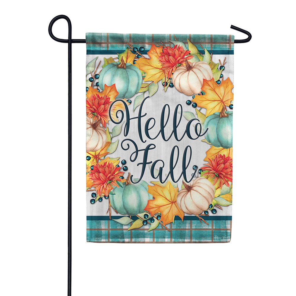 Hello Fall Wreath Garden Flag
