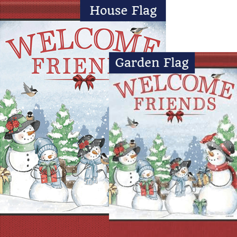 Snowy Family Welcome Flags Set (2 Pieces)