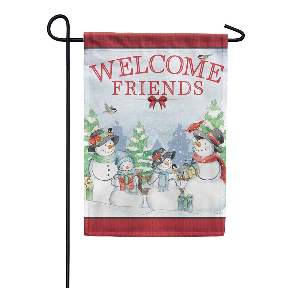 Snowy Family Welcome Garden Flag