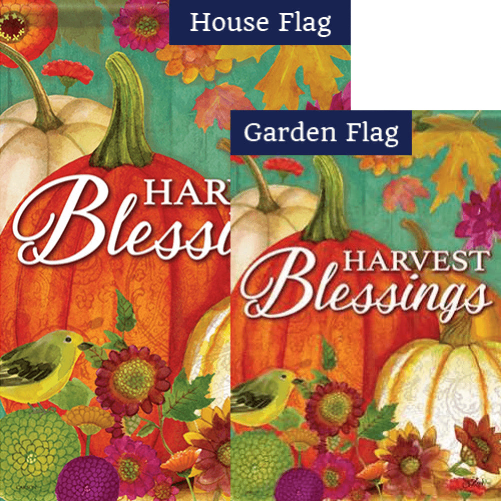 Pumpkin Harvest Blessings Welcome Flags Set (2 Pieces)