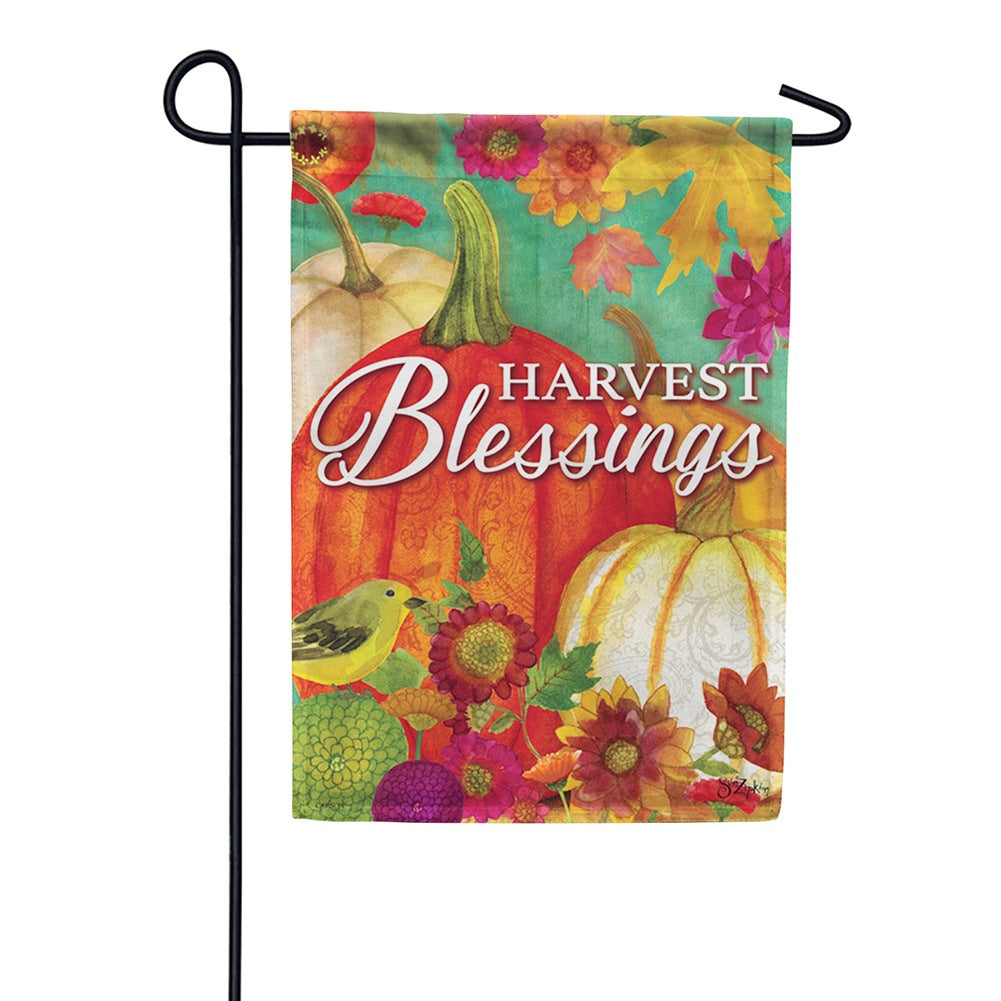 Pumpkin Harvest Blessings Welcome Garden Flag
