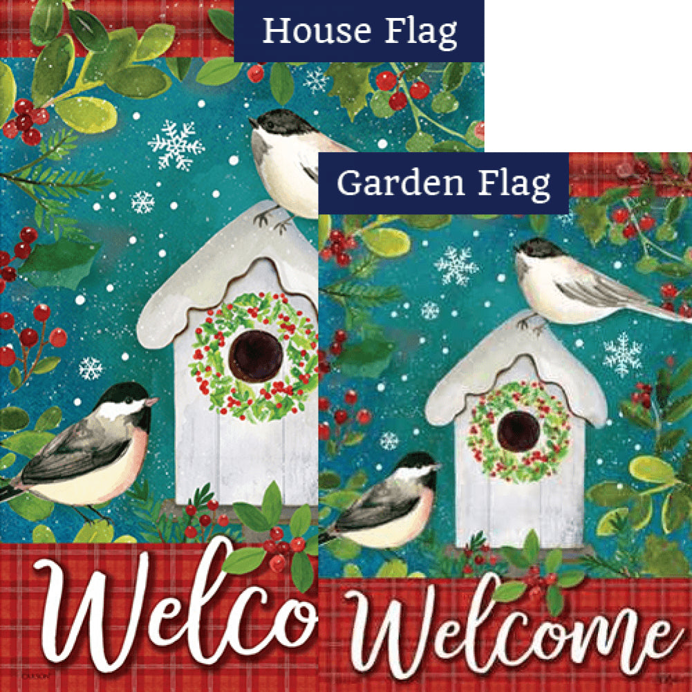 Chickadee Birdhouse Welcome Flags Set (2 Pieces)