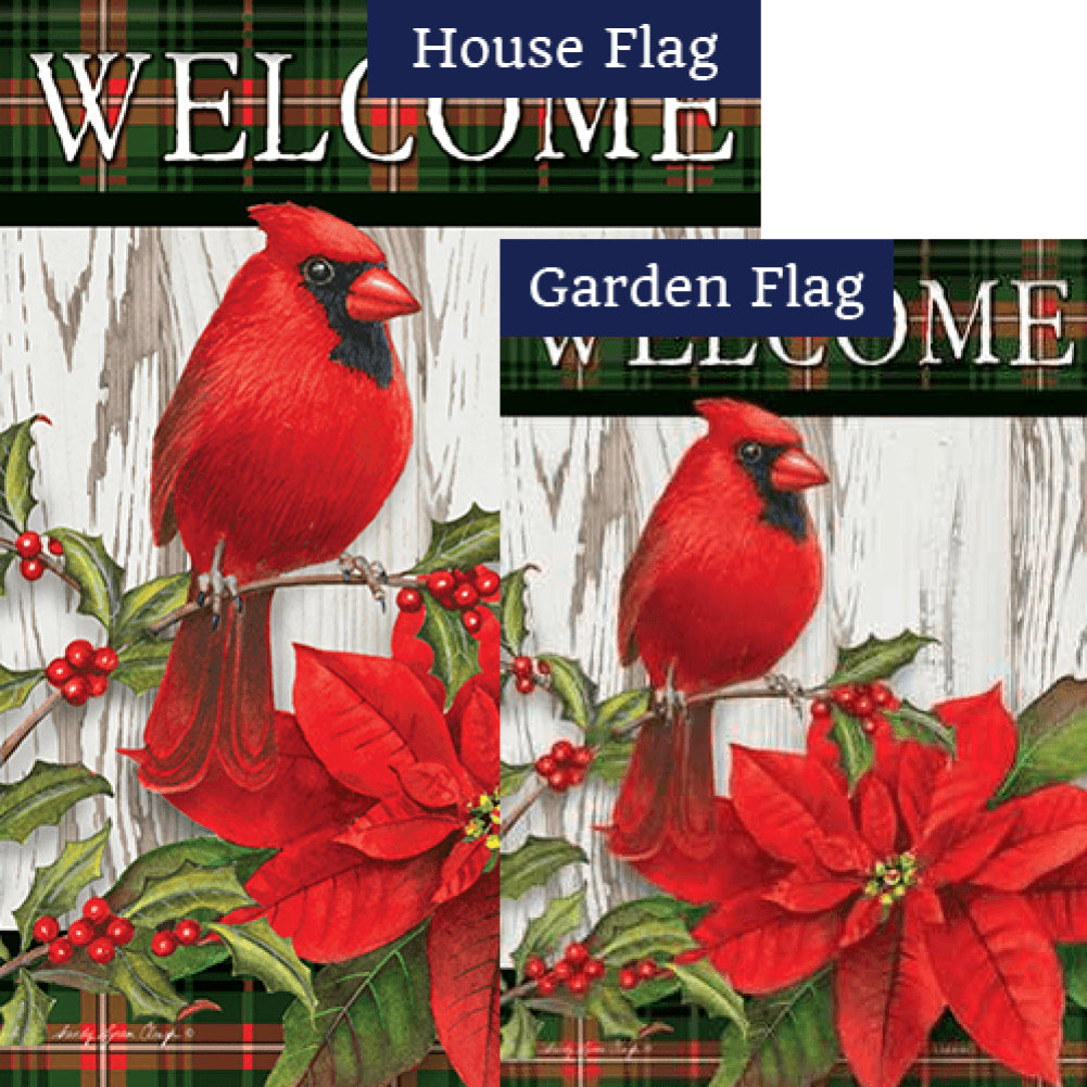 Sweet Cardinal Christmas Double Sided Flags Set (2 Pieces)