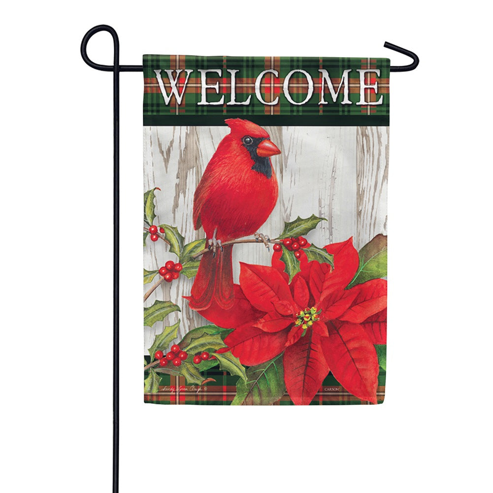 Sweet Cardinal Christmas Double Sided Garden Flag