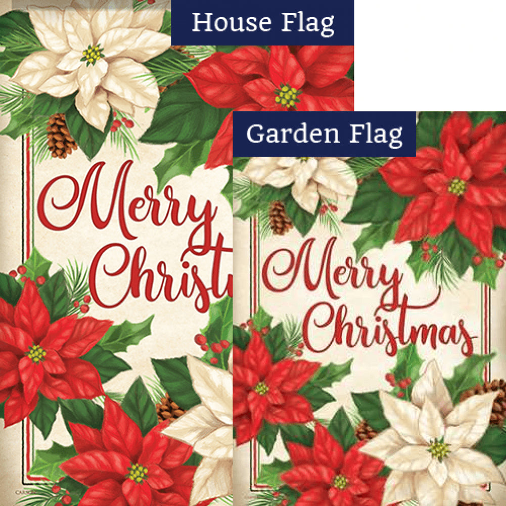 Pretty Poinsettias Double Sided Flags Set (2 Pieces)