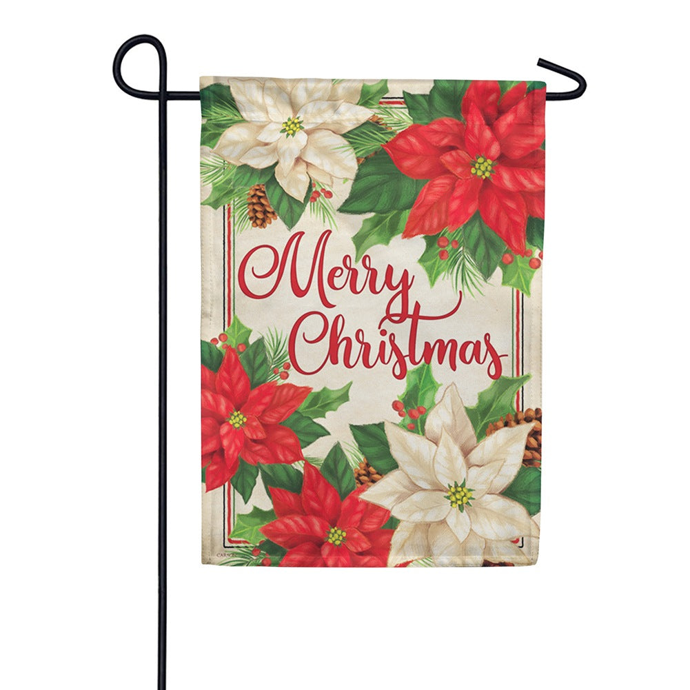 Pretty Poinsettias Double Sided Garden Flag