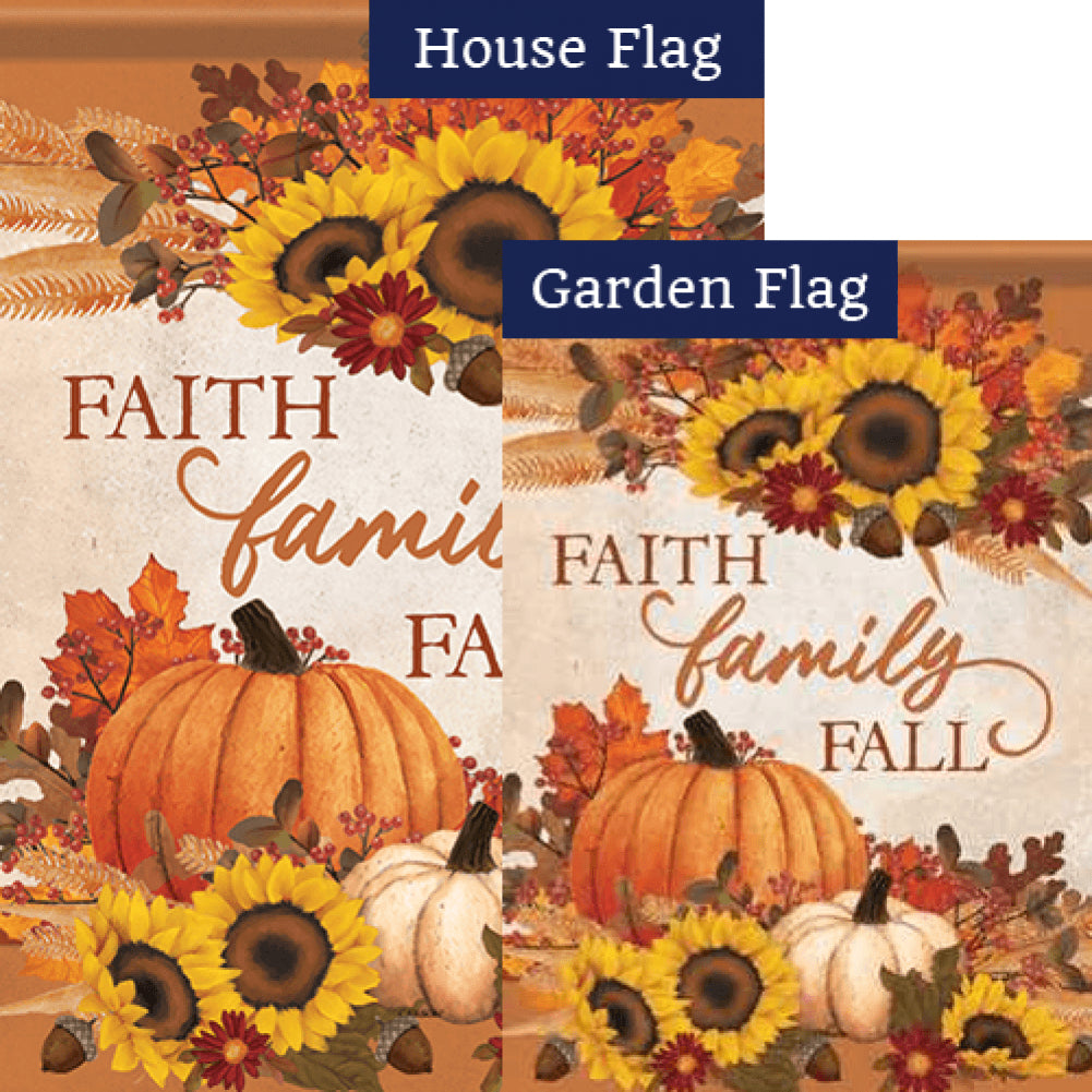 Faith, Family, Fall Double Sided Flags Set (2 Pieces)