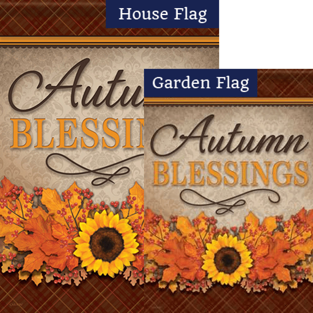 Autumn Blessings Floral Double Sided Flags Set (2 Pieces)