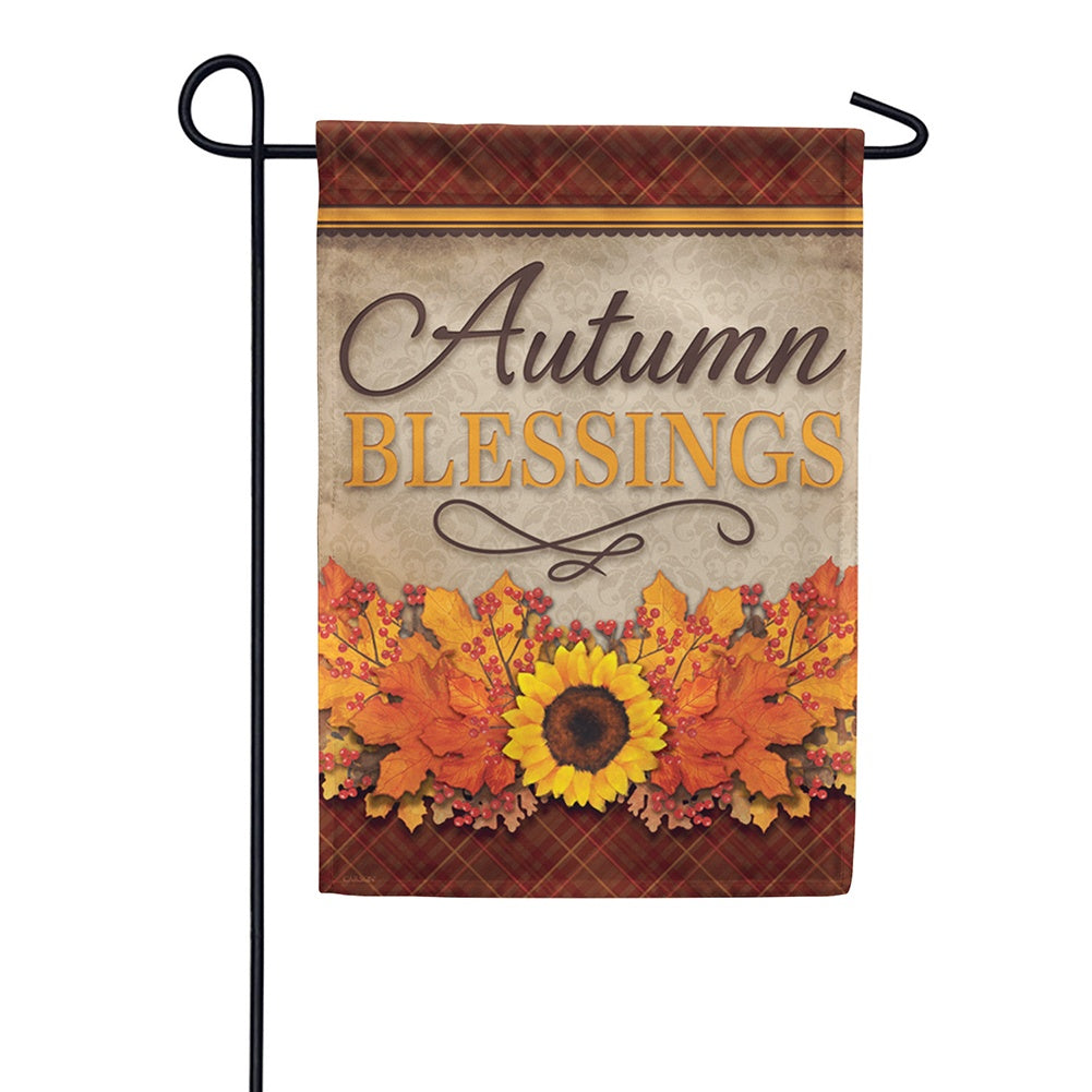 Autumn Blessings Floral Double Sided Garden Flag