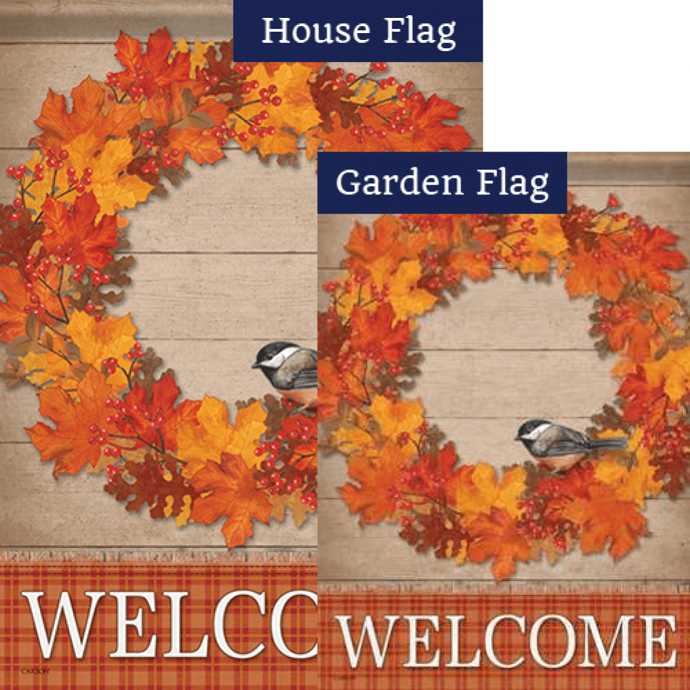 Autumn Wreath Bird Welcome Double Sided Flags Set (2 Pieces)