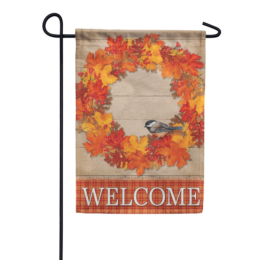 Autumn Wreath Bird Welcome Double Sided Garden Flag