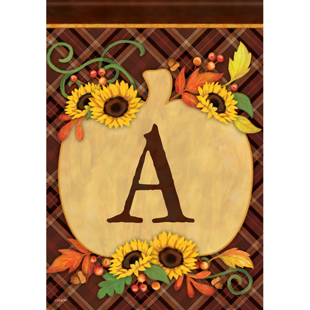 Plaid Pumpkin Monogram Double Sided Garden Flag
