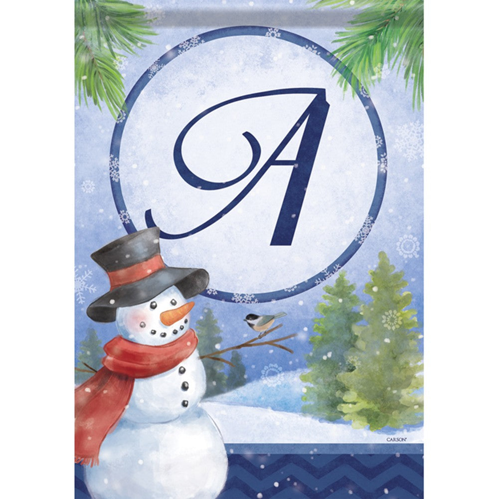 Snowman Monogram Double Sided Garden Flag