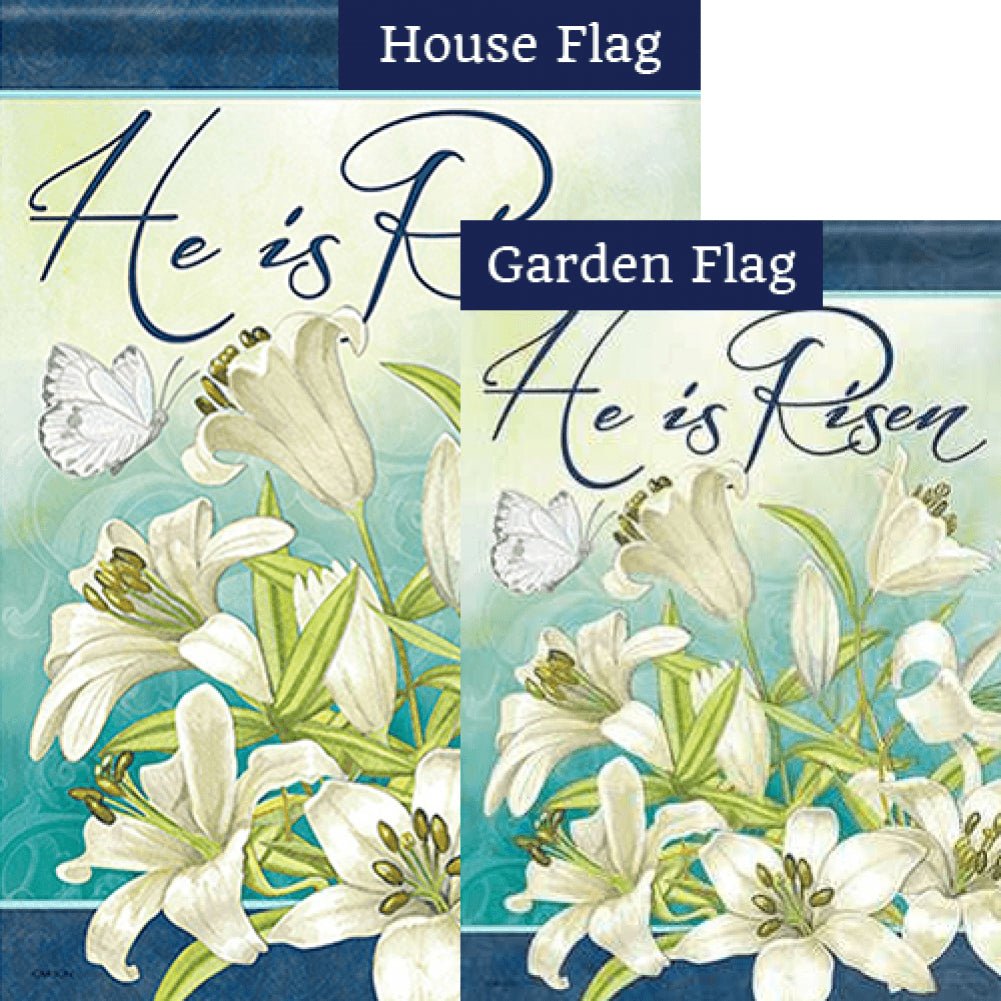 Blooming Lilies Double Sided Flags Set (2 Pieces)