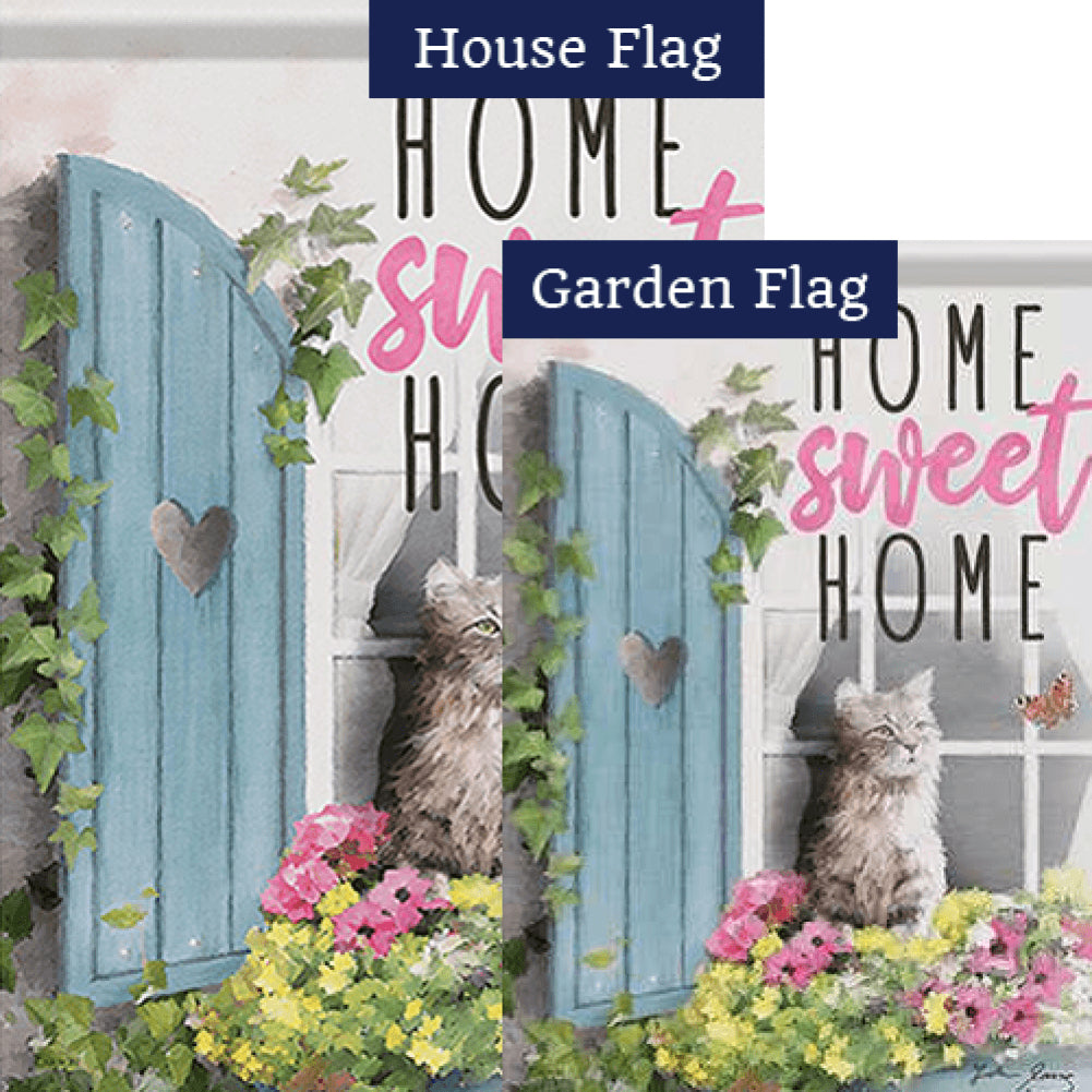 Flower Box Cat Double Sided Flags Set (2 Pieces)