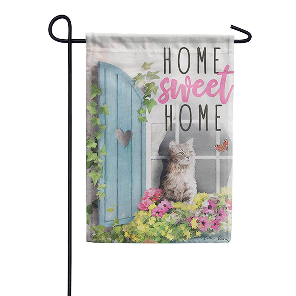 Flower Box Cat Double Sided Garden Flag