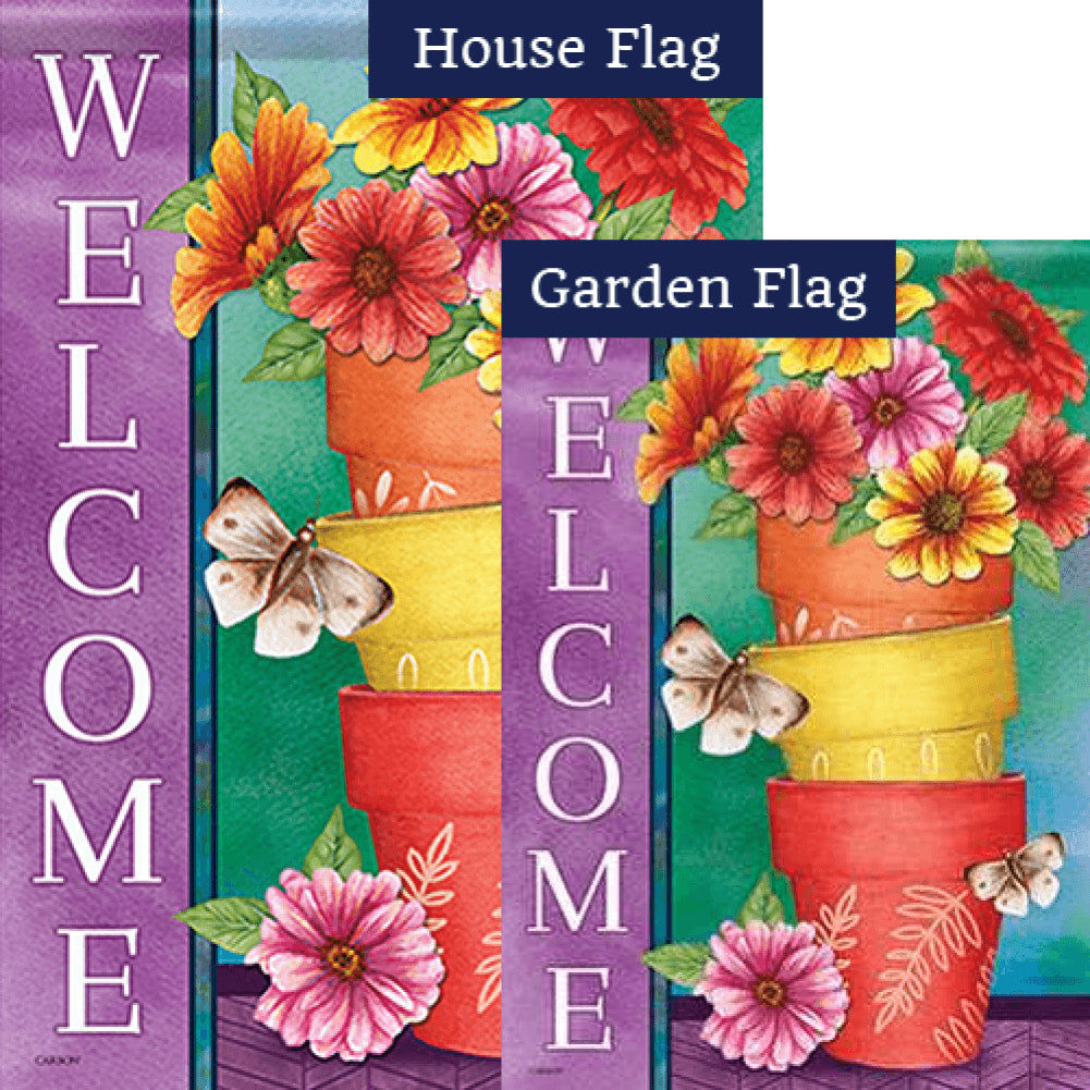 Stacked Pots Double Sided Flags Set (2 Pieces)
