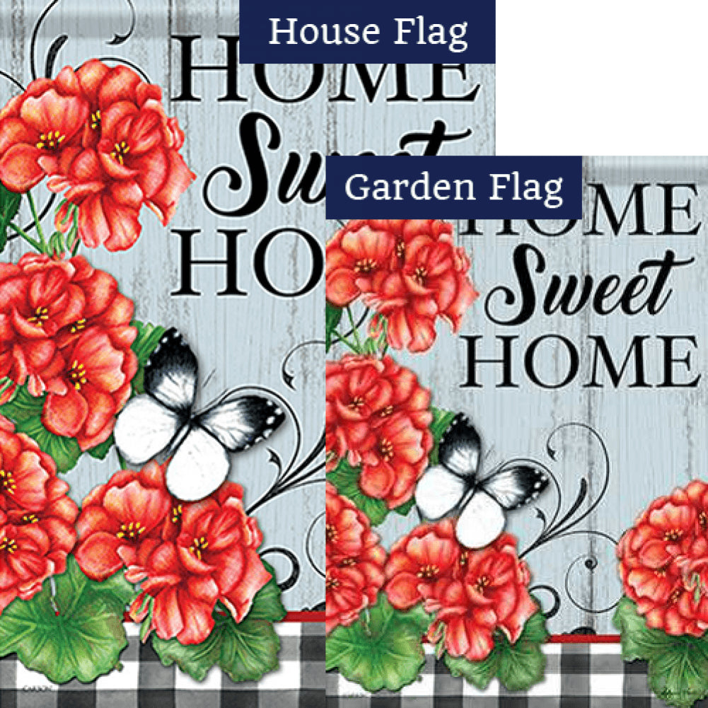 Buffalo Plaid Geraniums Double Sided Flags Set (2 Pieces)