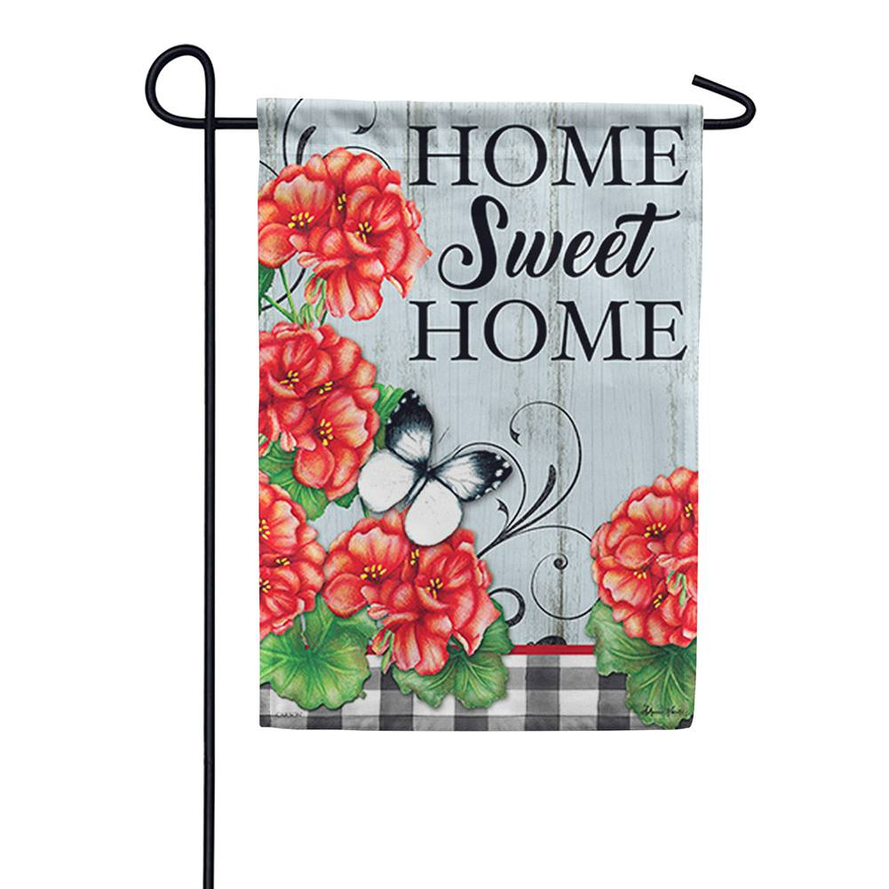 Buffalo Plaid Geraniums Double Sided Garden Flag