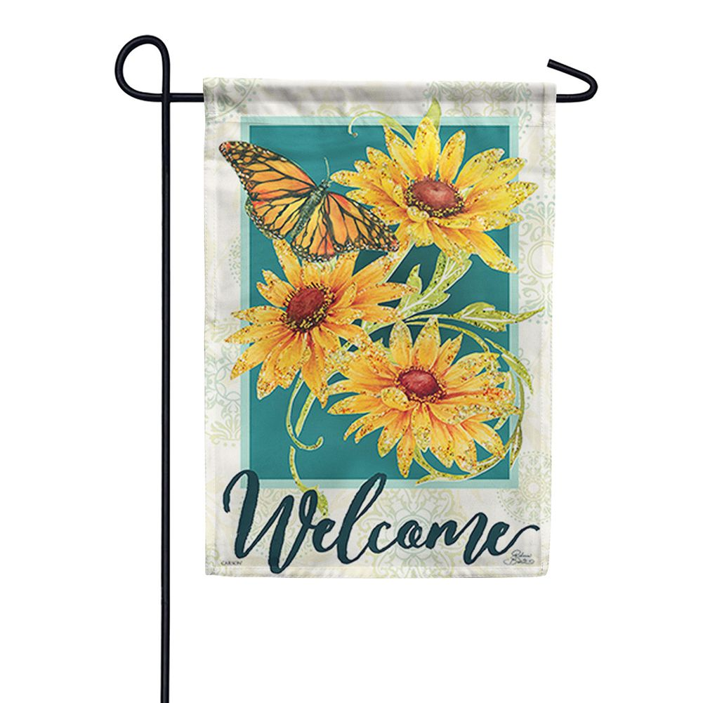 Sundrenched Blossoms Glitter Trends Double Sided Garden Flag