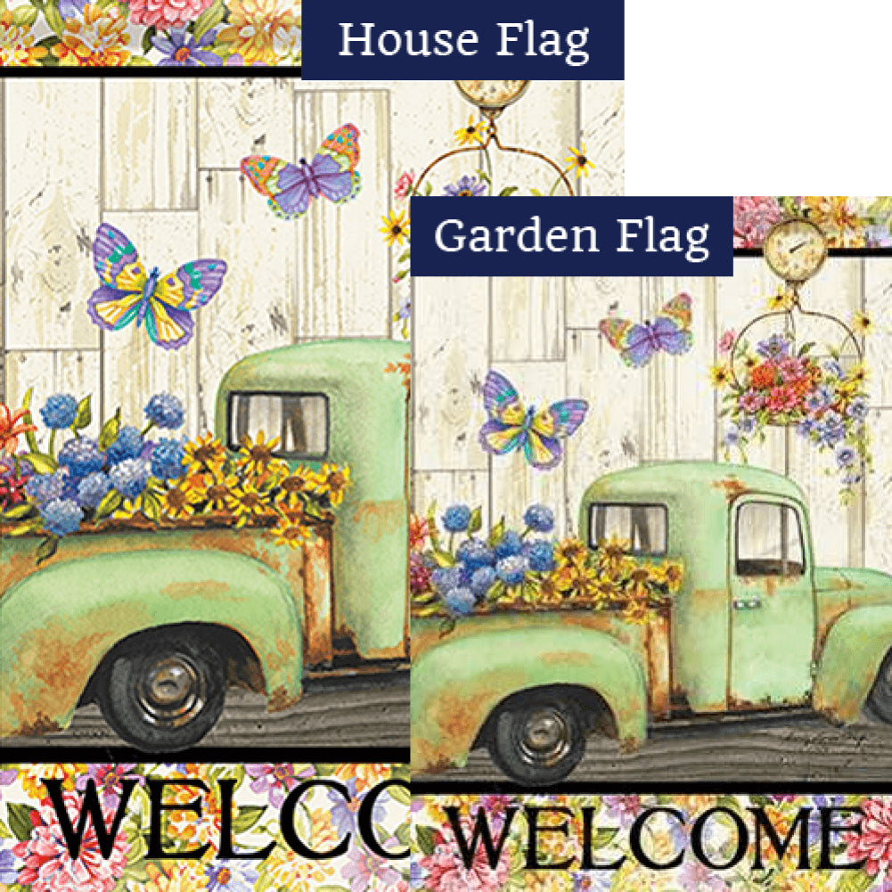 Fresh Flowers Welcome Double Sided Flags Set (2 Pieces)