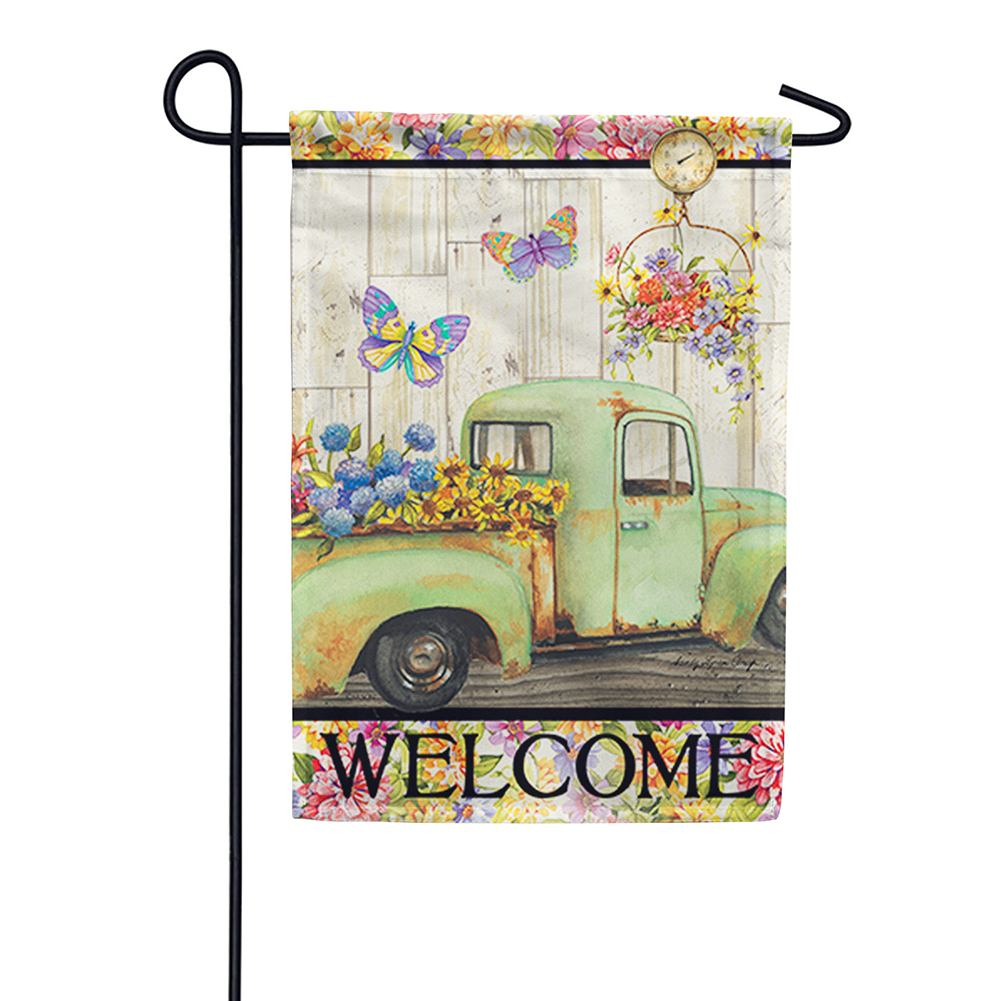 Fresh Flowers Welcome Double Sided Garden Flag