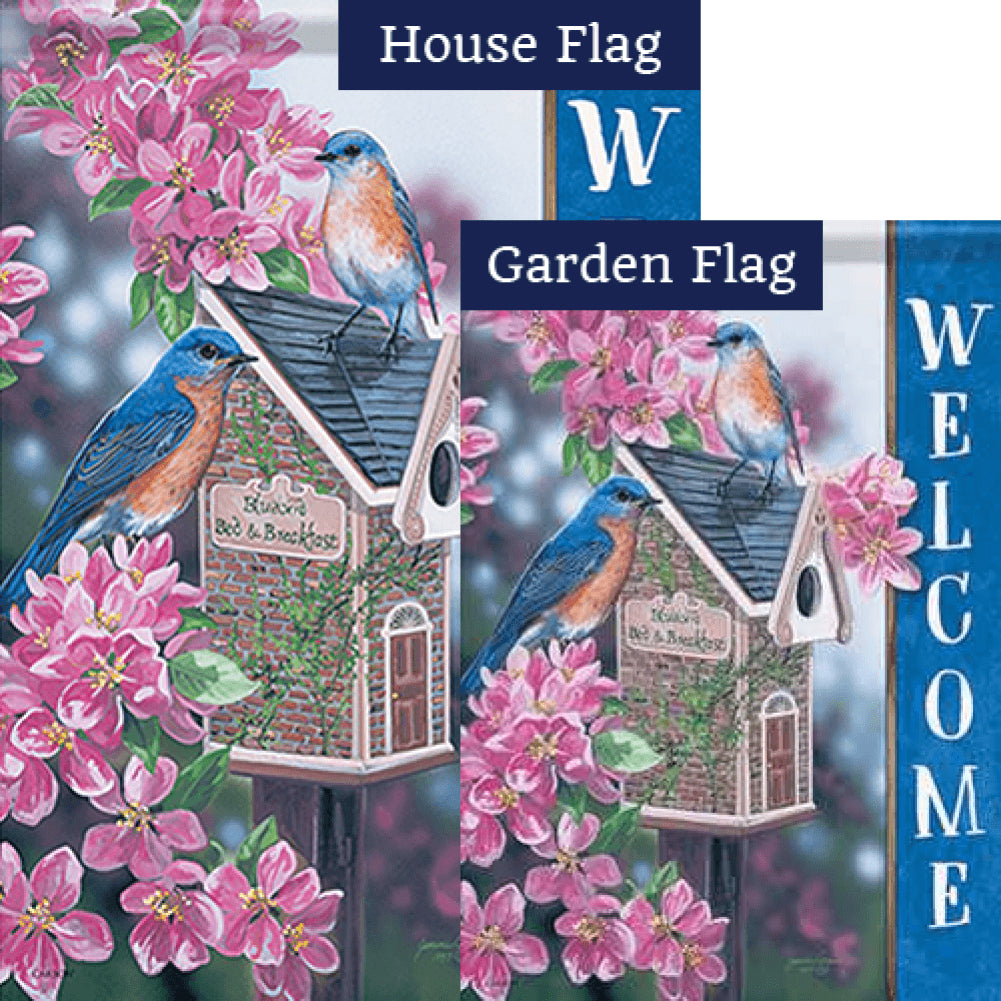 Bluebird Bed & Breakfast Double Sided Flags Set (2 Pieces)