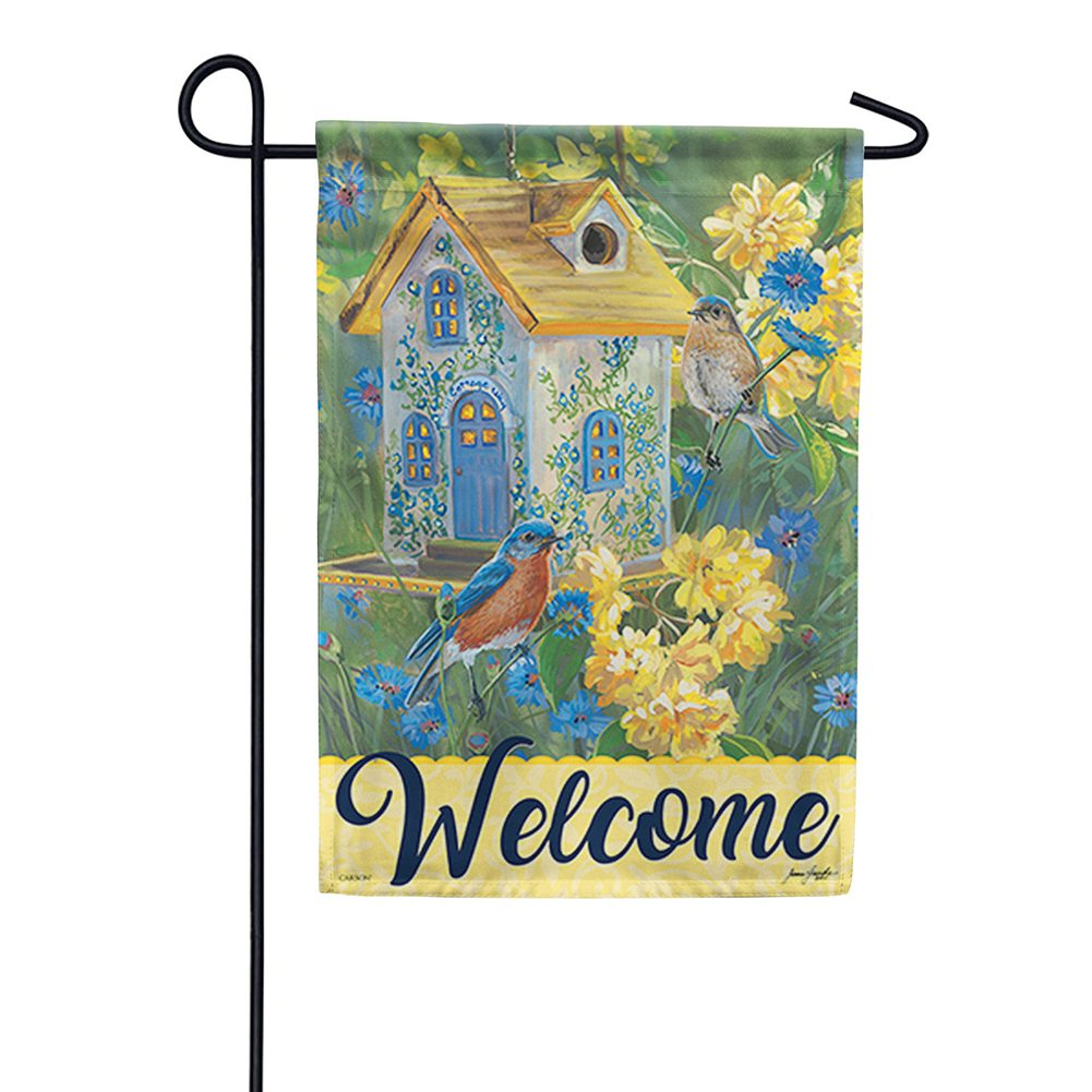 Bluebird Cottage Double Sided Garden Flag