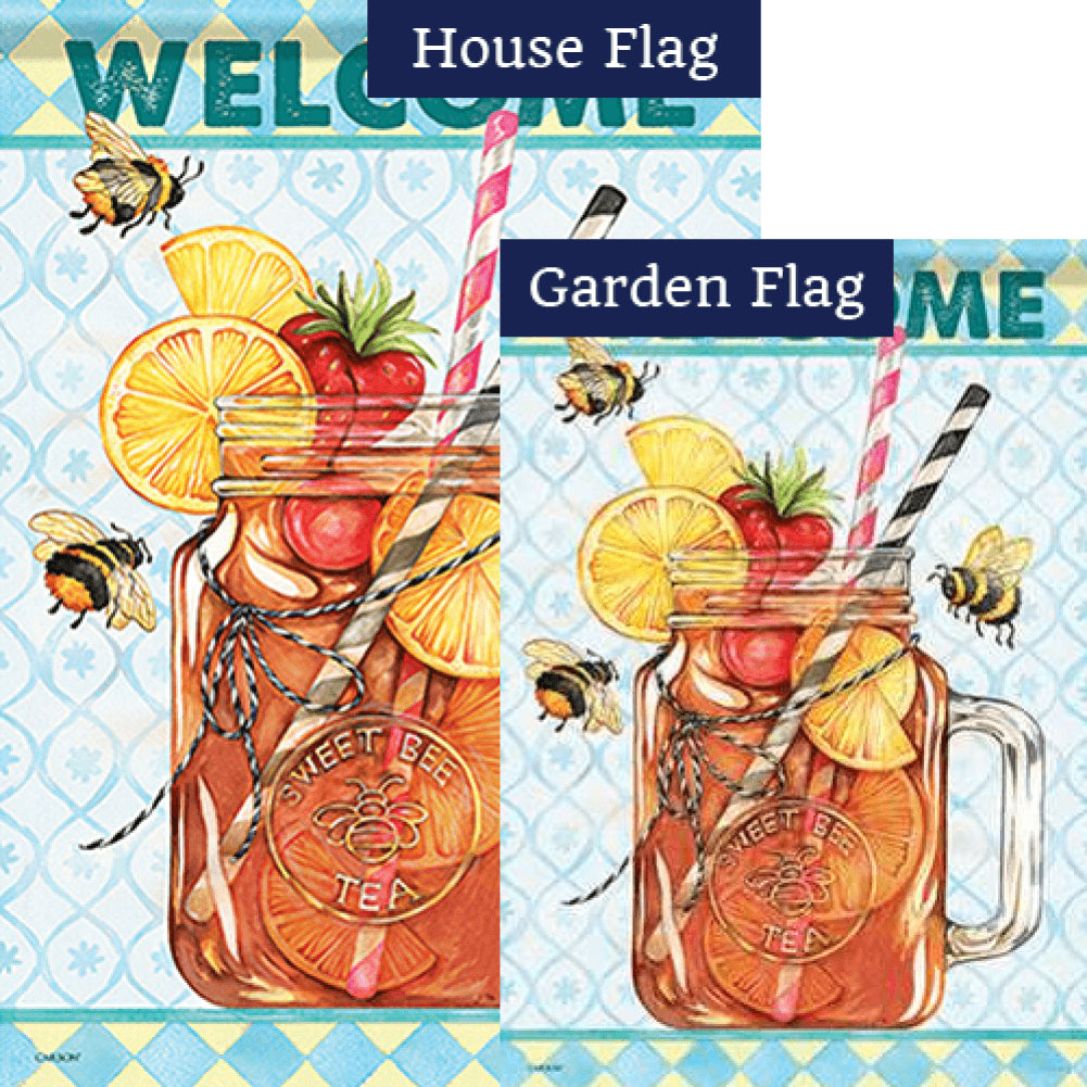 Sweet Tea Bee Double Sided Flags Set (2 Pieces)