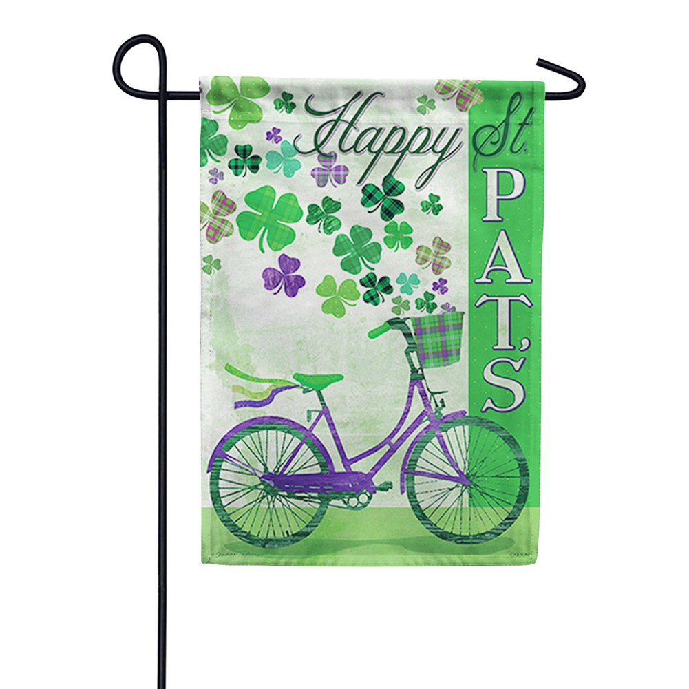 St. Pat's Bike Double Sided Garden Flag