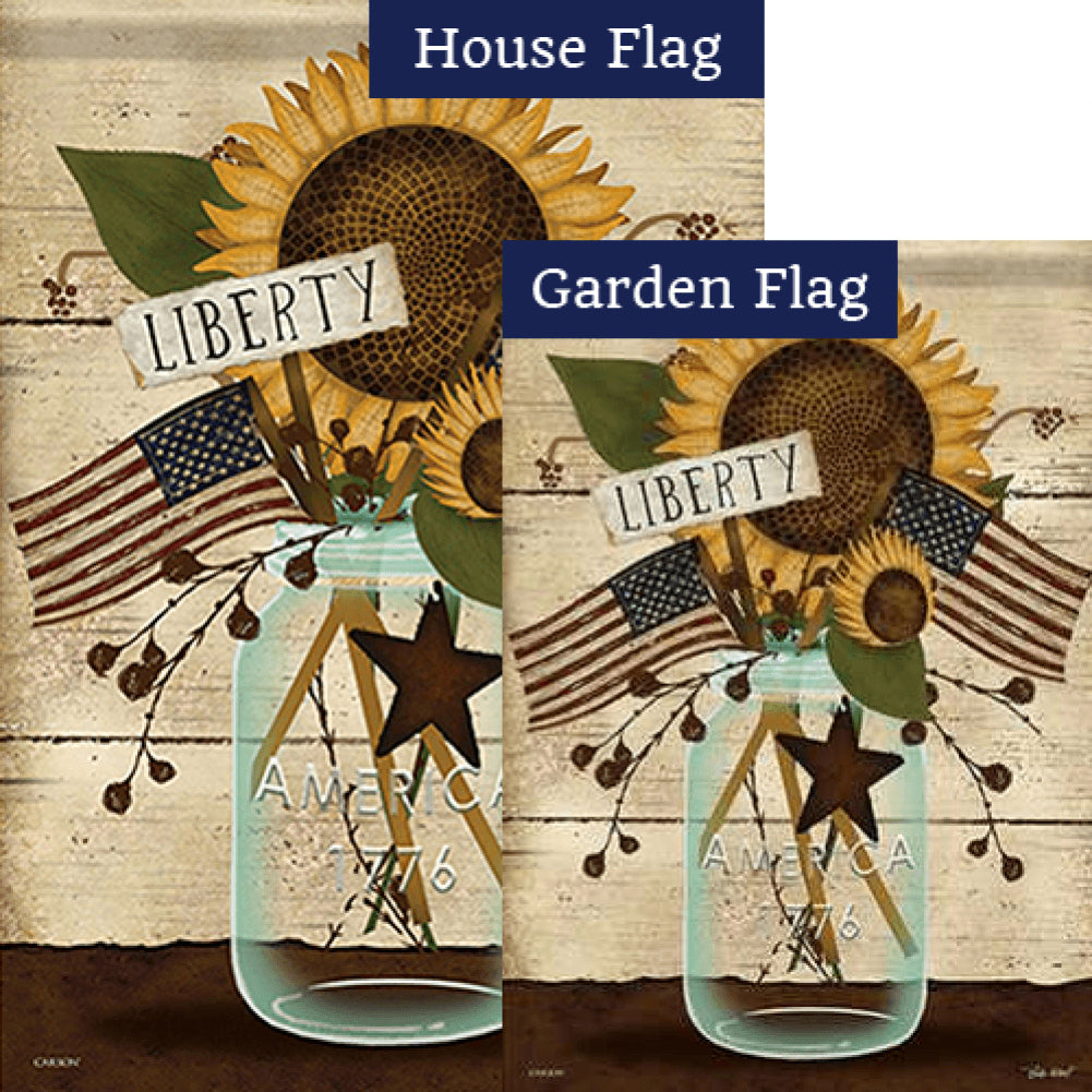 Liberty Mason Jar Double Sided Flags Set (2 Pieces)