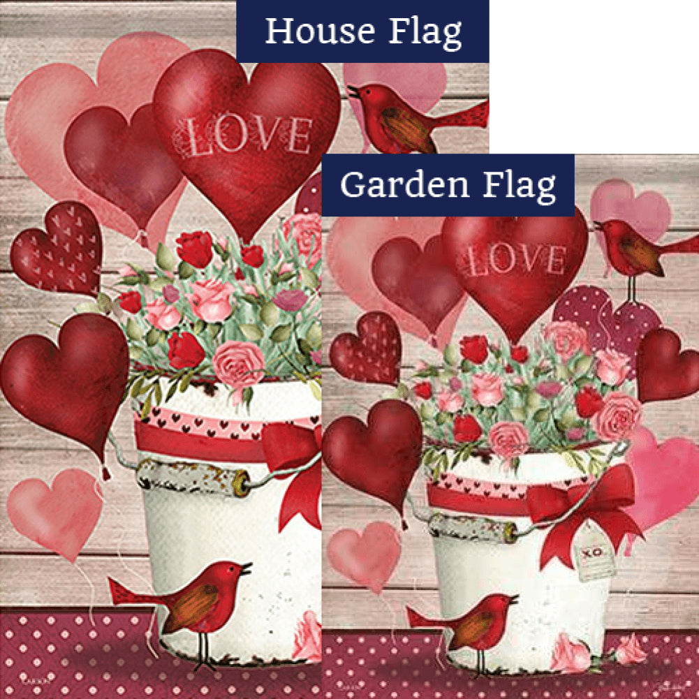 Valentine Bucket Double Sided Flags Set (2 Pieces)