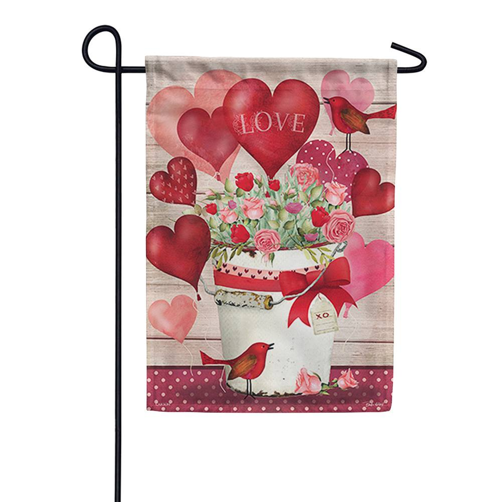 Valentine Bucket Double Sided Garden Flag