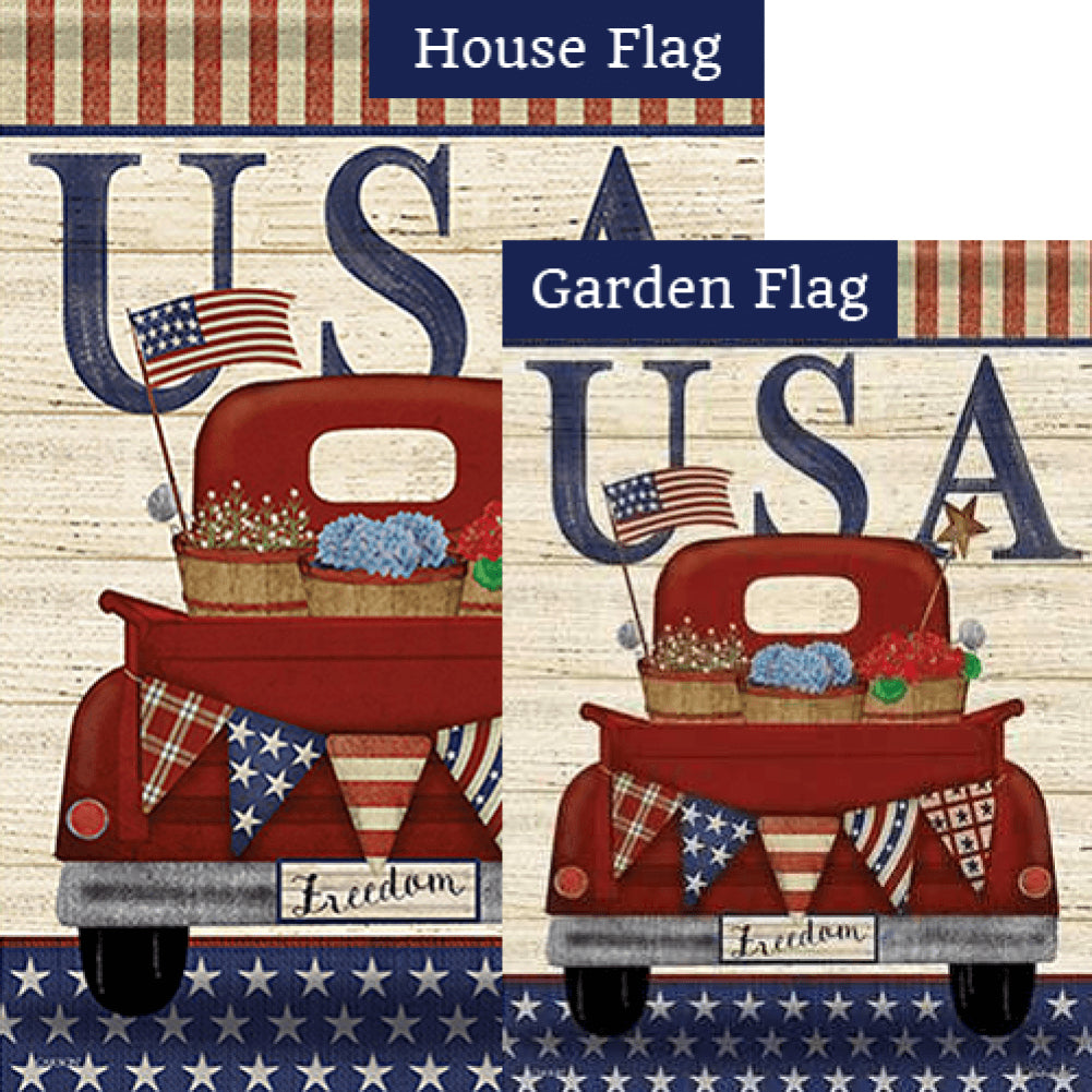Freedom Truck Double Sided Flags Set (2 Pieces)