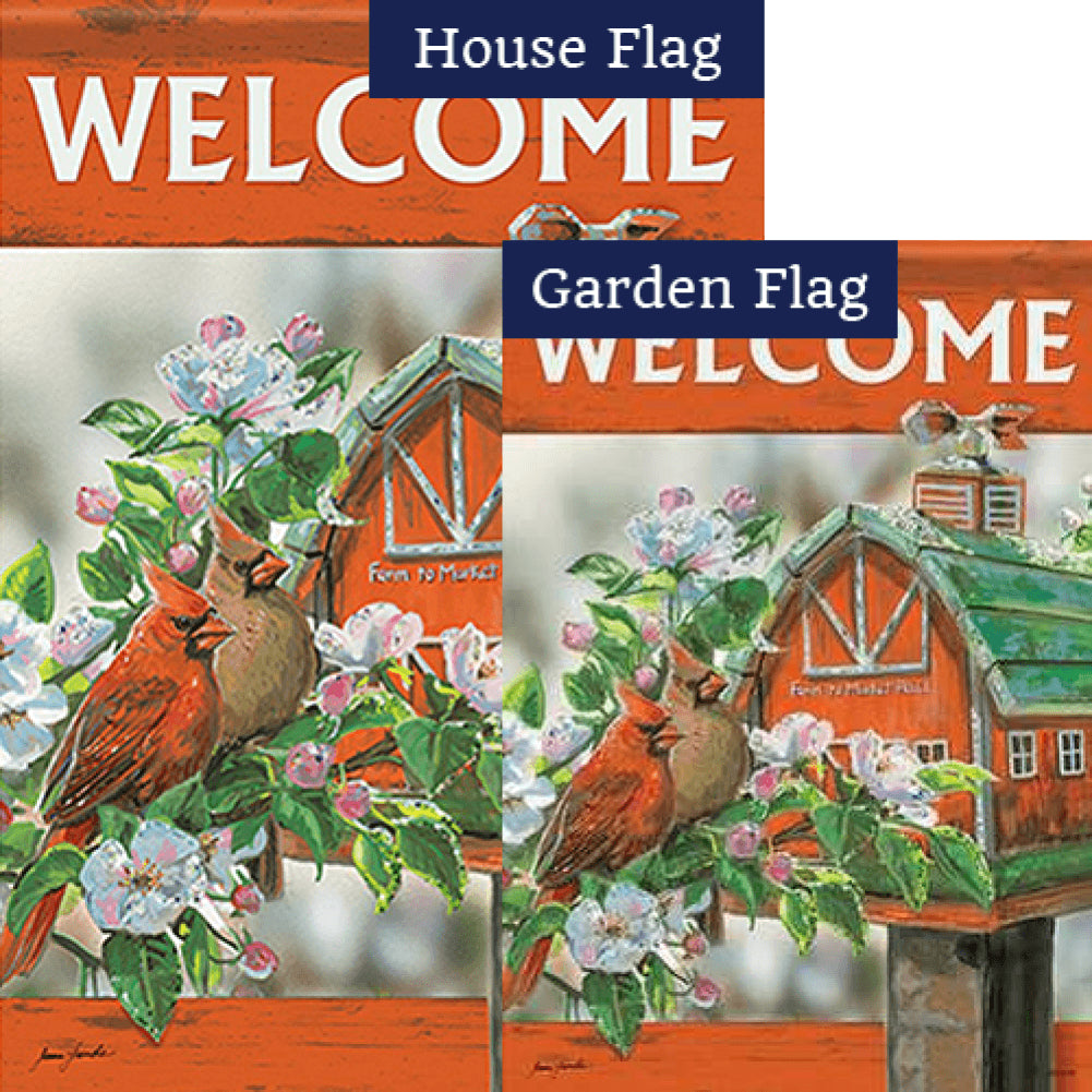 Farm to Market Cardinals Glitter Trends Flags Set (2 Pieces)