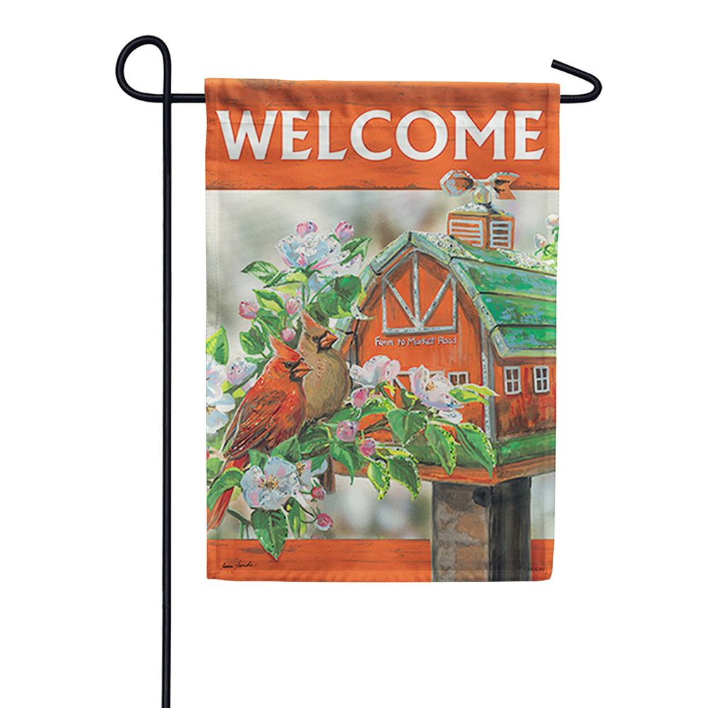 Farm to Market Cardinals Glitter Trends Double Sided Garden Flag