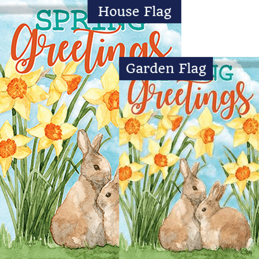 Daffodils & Bunnies Double Sided Flags Set (2 Pieces)