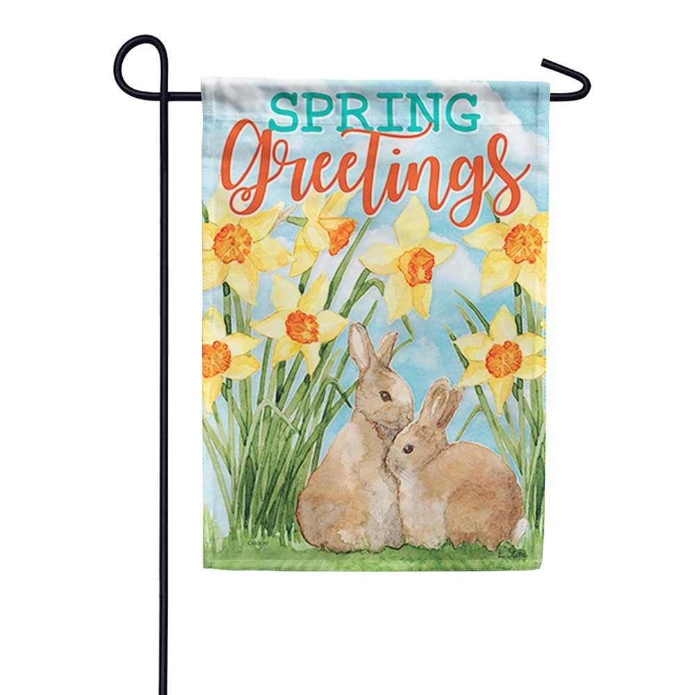 Daffodils & Bunnies Double Sided Garden Flag