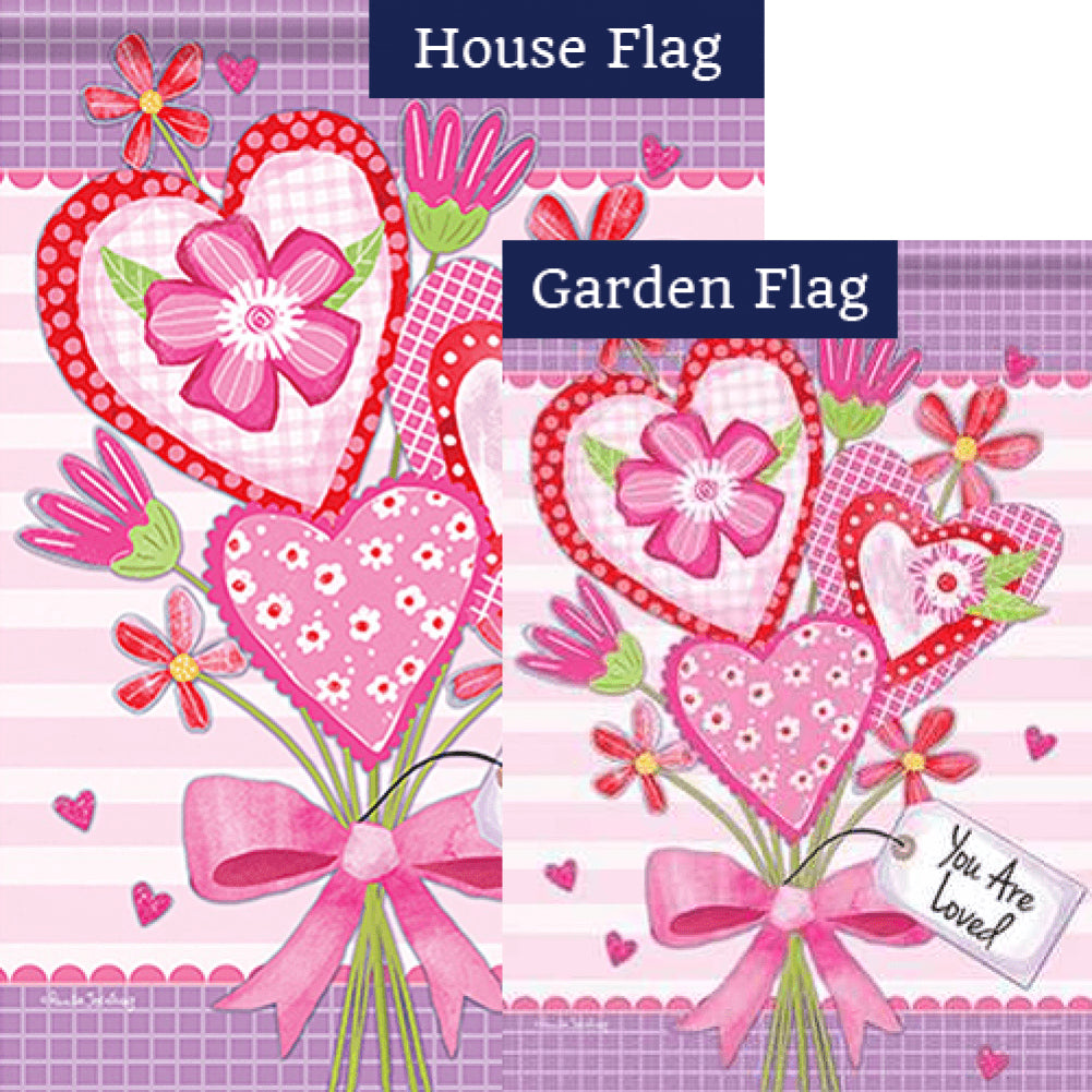 Valentine Bouquet Loved Double Sided Flags Set (2 Pieces)