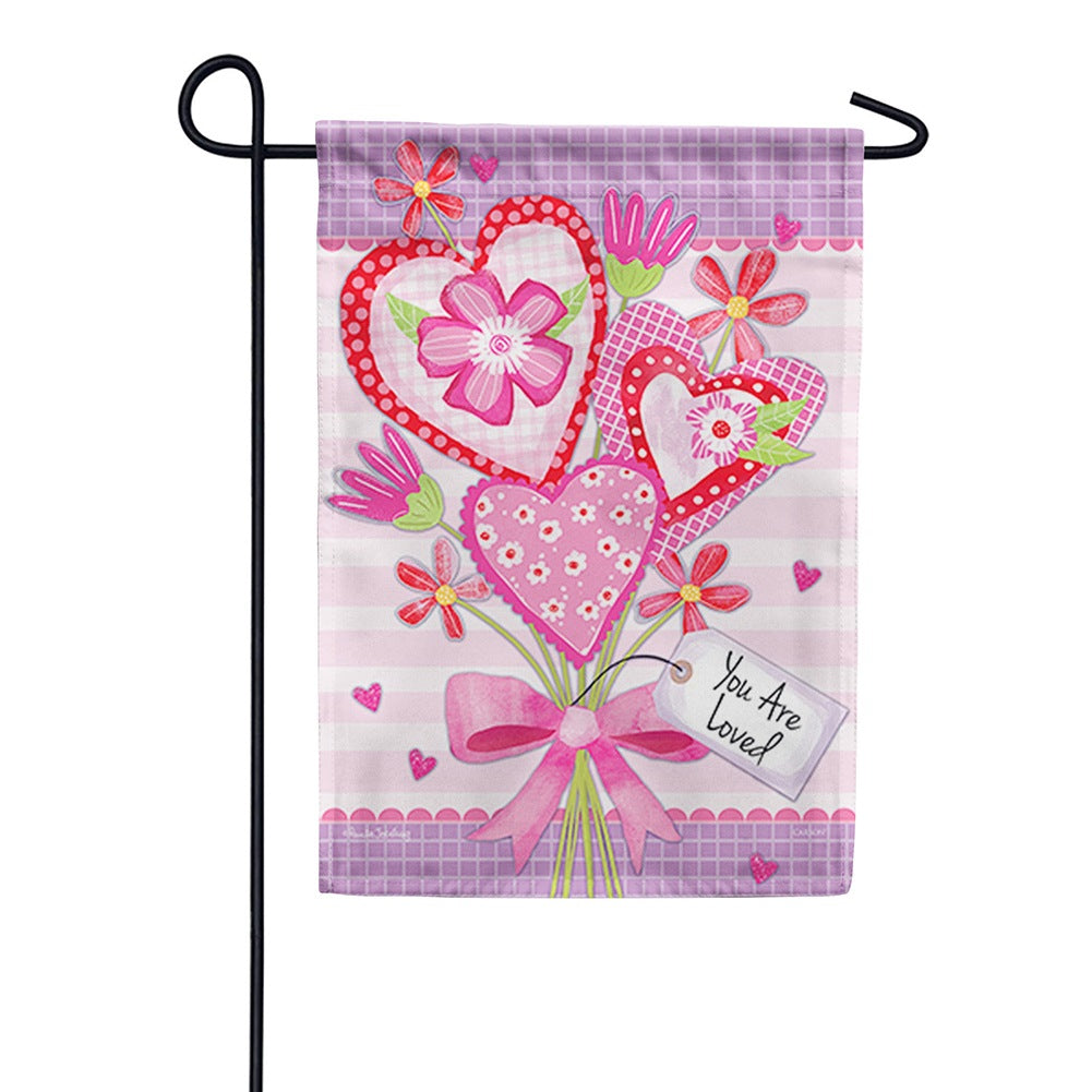 Valentine Bouquet Loved Double Sided Garden Flag