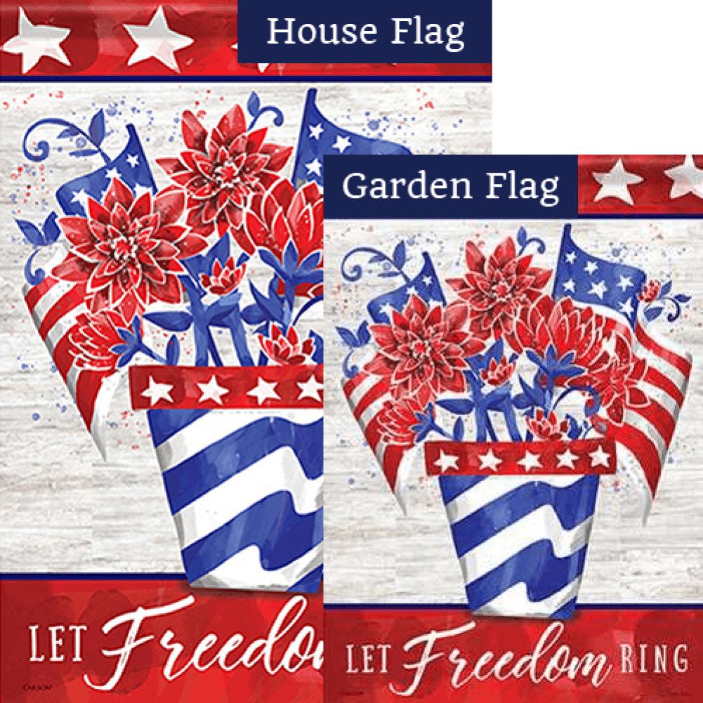 Let Freedom Ring Flower Pot Double Sided Flags Set (2 Pieces)