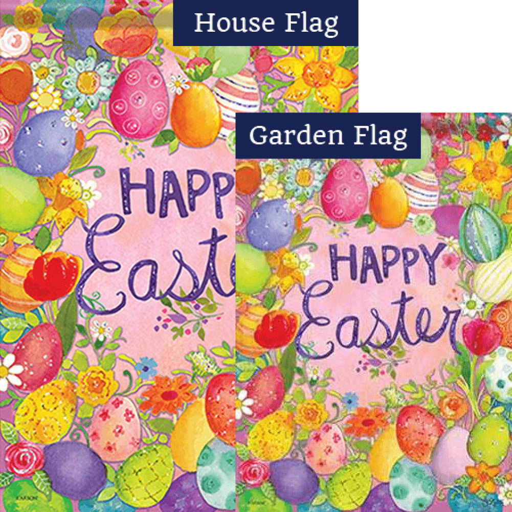 Happy Egg Frame Glitter Trends Double Sided Flags Set (2 Pieces)