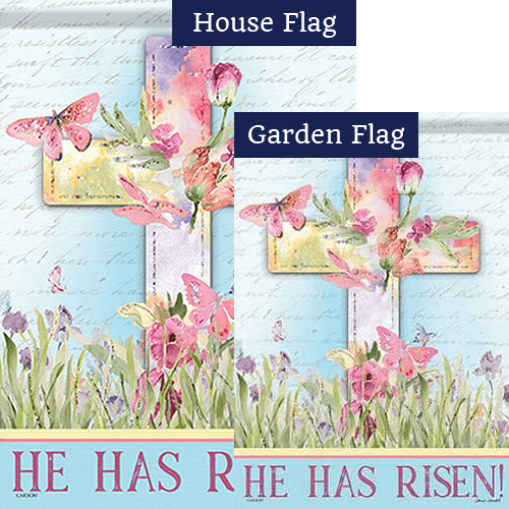 Watercolor Sunrise Glitter Trends Double Sided Flags Set (2 Pieces)