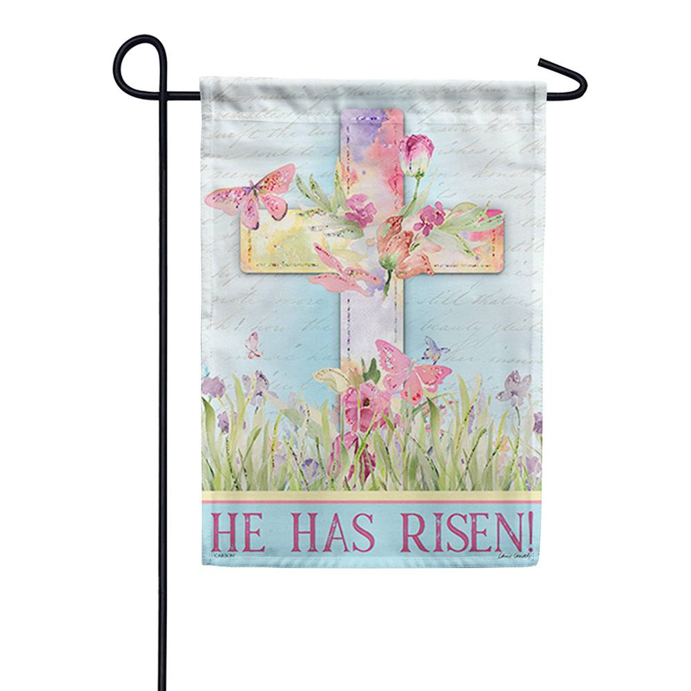 Watercolor Sunrise Glitter Trends Double Sided Garden Flag