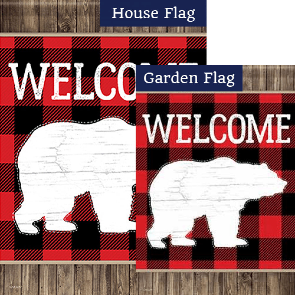 Bear Plaid Double Sided Flags Set (2 Pieces)