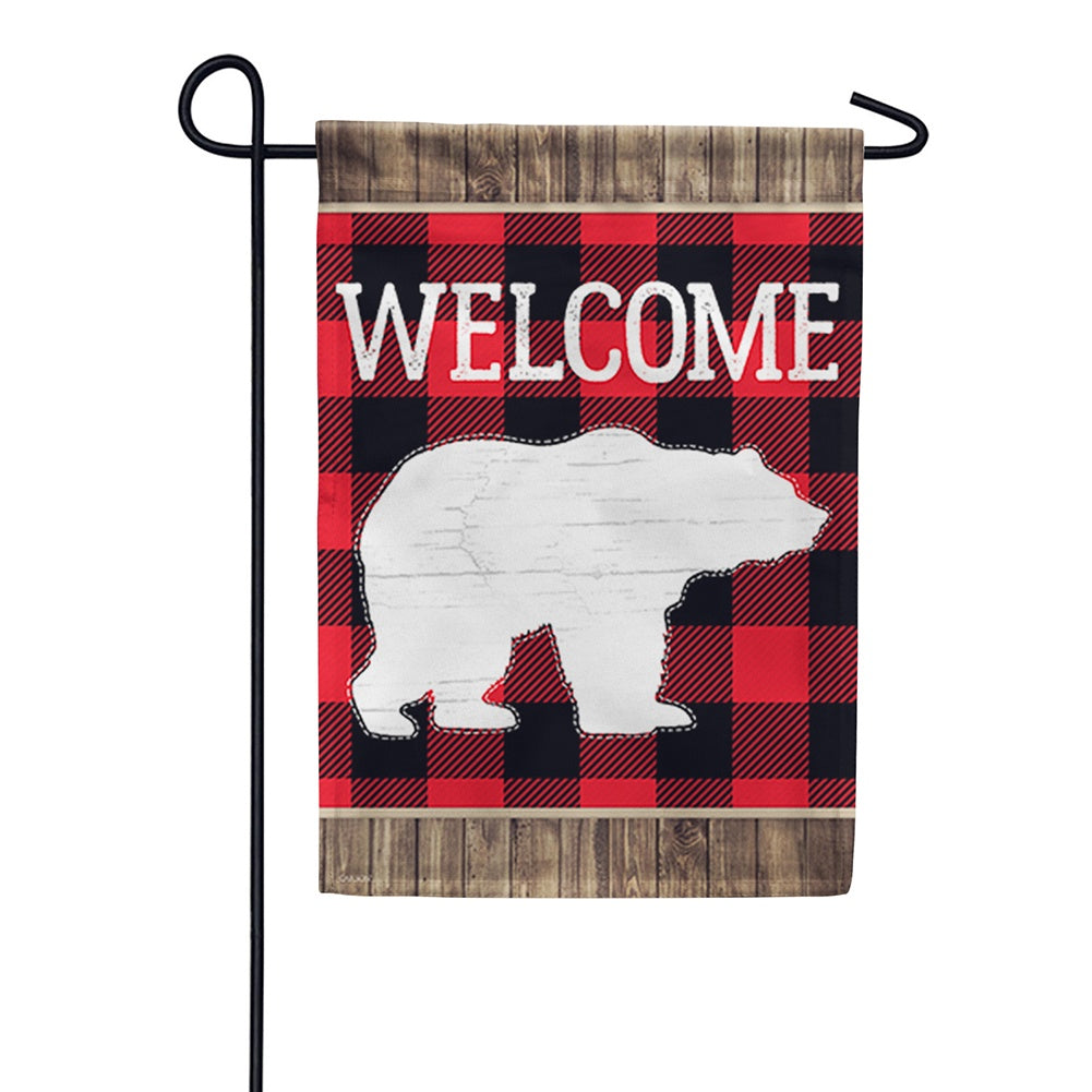 Bear Plaid Double Sided Garden Flag